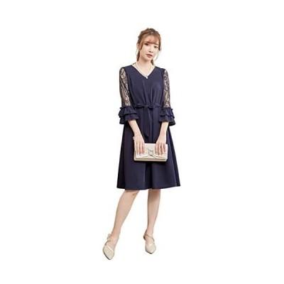 パーティードレス ワンピース ロングドレス 大きいサイズ 二次会 ロング フォーマル ワンピース 長袖 パーティードレス (ネイビー 2XL)