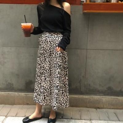【お取り寄せ】レオパード柄 ロングスカート Aライン フレア ヒョウ柄コーデ TYK1281