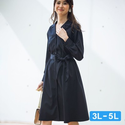 Ranan 【3L~5L】開襟シャツワンピース ベージュ 3L レディース