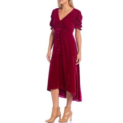 ハーリン レディース ワンピース トップス Velvet V-Neck Puff Sleeve Button Front Detail Empire Waist Hi-Low Midi Dress
