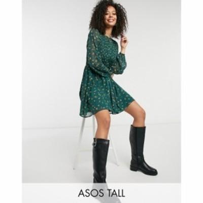 エイソス ASOS Tall レディース ワンピース ワンピース・ドレス ASOS DESIGN Tall shirred mini smock dress in floral print フローラル