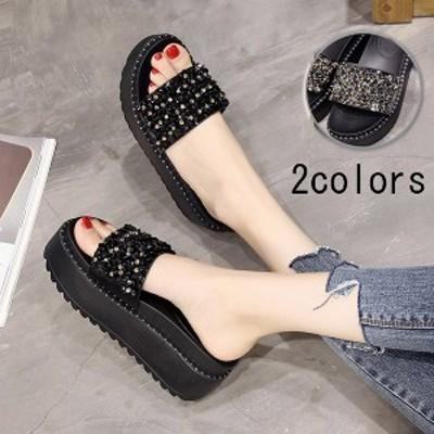 サンダル 厚底サンダル 2colors ブラック グレー シューズ ヒール7cm ビーチサンダル 靴 美脚 安定感 サマー カジュアル かわいい