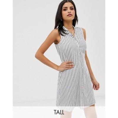 ベロモーダ レディース ワンピース トップス Vero Moda Tall stripe button front mini dress