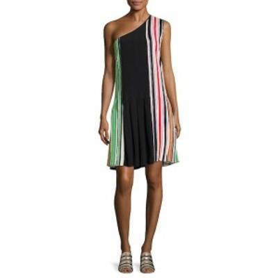 ダイアンフォンファステンバーグ レディース ワンピース One Shoulder Striped Silk Dress