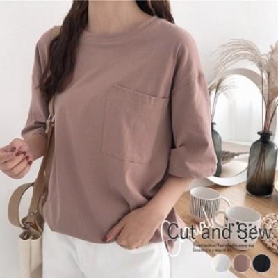 Tシャツ カットソー ゆったり シンプル コットン100% ベーシックtシャツ ポケット レディース(ゆうパケット送料無料)[郵2]^t840^
