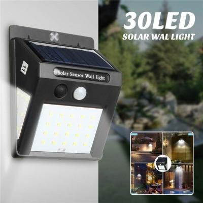 30LEDソーラーライトPIRモーションセンサーウォールランプセキュリティガーデン屋外3サイド照明