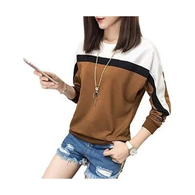 SIBKY Tシャツ カットソー 長袖 配色 切替え シンプル レディース スウェット プルオーバー (ブラウン 3XL)