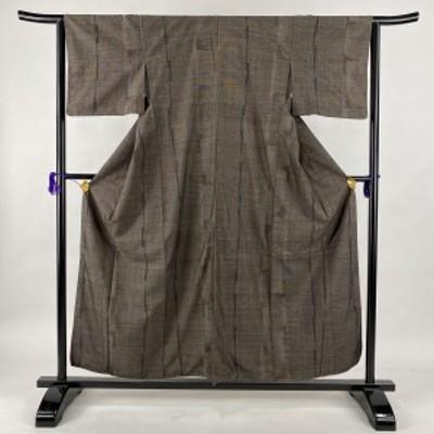 紬 美品 秀品 幾何学 焦茶色 袷 身丈158.5cm 裄丈61cm S 正絹 中古