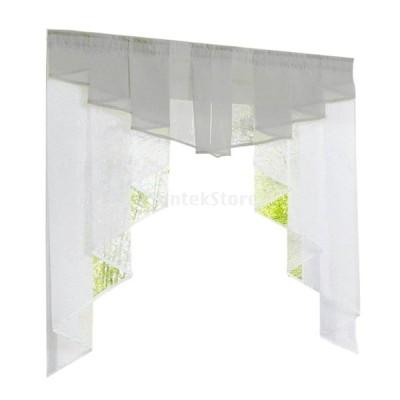 カーテン 不規則な ステッチ プリーツデザイン ロマン 窓カーテン キッチン/バスルーム用 全9色5サイズ可選択 - グレー, 120Wx145H