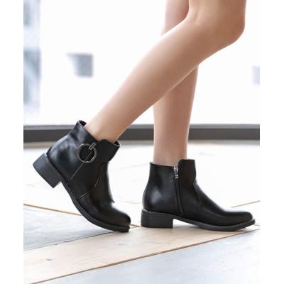 夢展望 / サイドリングキラキラピースアクセントショートブーツ WOMEN シューズ > ブーツ