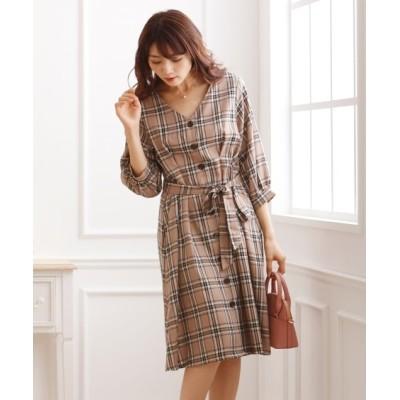 先染めチェック柄7分袖ワンピース (ワンピース)Dress