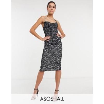 エイソス レディース ワンピース トップス ASOS DESIGN Tall cami cowl midi dress in abstract print Mono