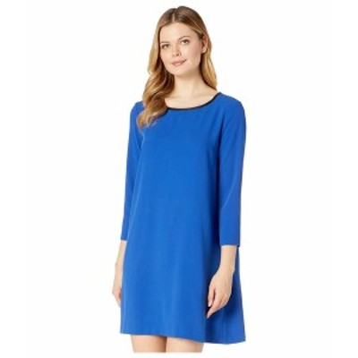 ECI レディース ワンピース トップス 3/4 Sleeve Jewel Neck Fit-and-Flare Dress Blue