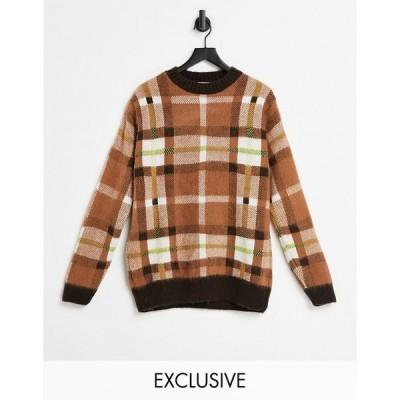 コリュージョン レディース ニット&セーター アウター COLLUSION Unisex brushed plaid sweater in brown Brown