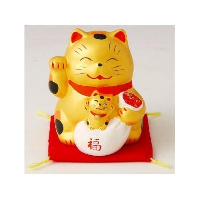 金運招き猫親子 貯金箱