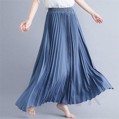 レディース スカート マキシ丈 無地 プリーツスカート シフォンスカート カラフル マキシスカート 大きサイズ