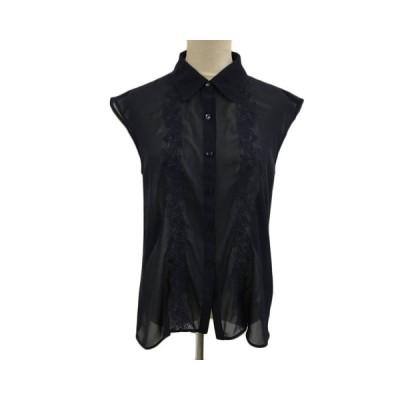 【中古】レストローズ L'EST ROSE ブラウス シャツ シースルー 刺繍 ノースリーブ 2 紺 ネイビー レディース 【ベクトル 古着】