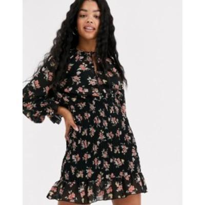 エイソス レディース ワンピース トップス ASOS DESIGN mini dress with shirred skirt in floral print Black based floral