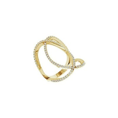 Solid 14k Yellow Gold 3/8 Cttw Diamond Freeform Ring Band (.38 Cttw) (Width