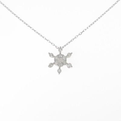 K18WG スノーフレーク ダイヤモンドネックレス