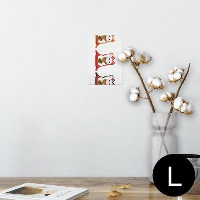 ポスター ウォールステッカー シール式 89×127mm L版 写真 壁 インテリア おしゃれ wall sticker poster 招き猫 商売繁盛 猫 013202
