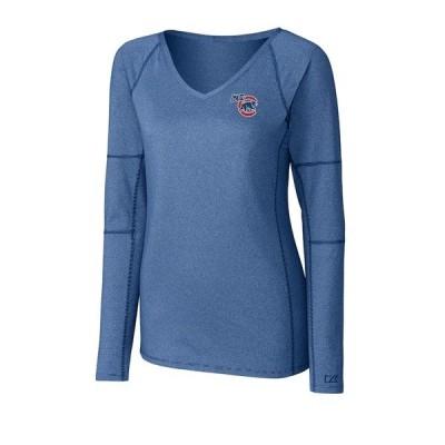 カッターアンドバック レディース Tシャツ トップス Iowa Cubs Cutter & Buck Women's Victory V-Neck Long Sleeve T-Shirt