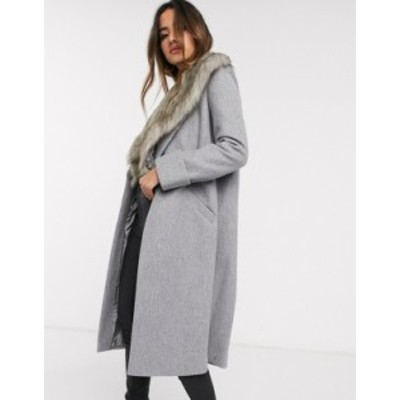 リバーアイランド レディース コート アウター River Island tailored coat with faux fur collar in gray Gray light