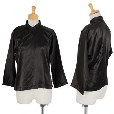 コムコム コムデギャルソンCOMME des GARCONS アセテートサテンチャイナシャツ 黒S 【レディース】