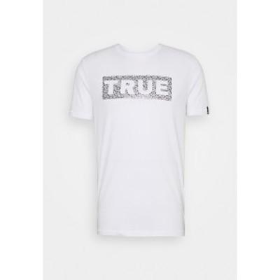 トゥルーレリジョン メンズ Tシャツ トップス THE BOX LOGO RHINESTONES - Print T-shirt - white white
