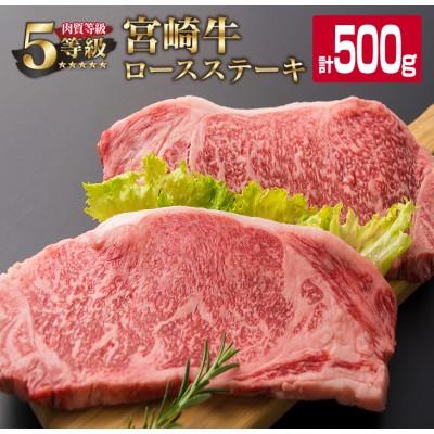 「最高ランク5等級」宮崎牛ロースステーキ2枚(計500g)