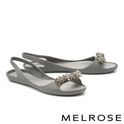 涼鞋 MELROSE 質感水鑽後繫帶防水低跟涼鞋-灰