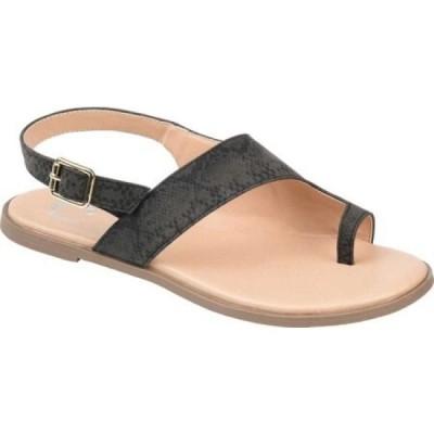ジュルネ コレクション Journee Collection レディース サンダル・ミュール フラット シューズ・靴 Gidget Flat Toe Loop Sandal Black Faux Leather