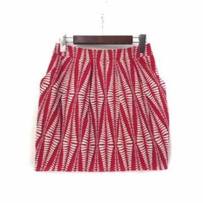 【中古】スタニングルアー STUNNING LURE スカート 0 S 赤 レッド 総柄 ミニ タック タイト 美品 レディース