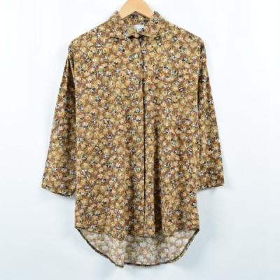 総柄 花柄 長袖 コットンシャツ フランス製 /eaa043211