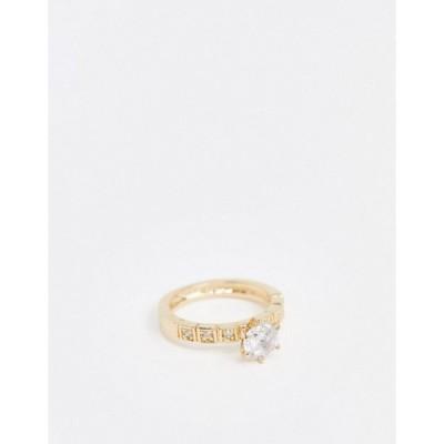 エイソス レディース 指輪 アクセサリー ASOS DESIGN ring with crystal stone in gold tone