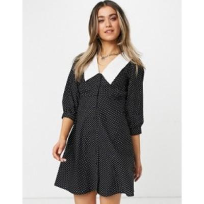 ニュールック レディース ワンピース トップス New Look poplin collar button up mini dress in black spot Black pattern