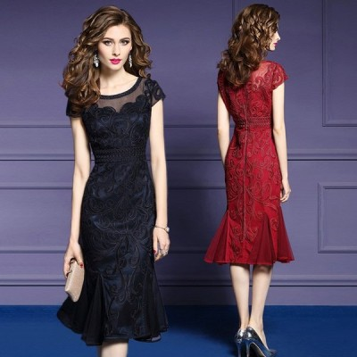 刺繍 ドレス ワンピース 半袖 膝丈 ミディ丈 シースルー マーメイド 大きいサイズ 2L 3L 4L お呼ばれ 結婚式 パーティー 二次会 上品