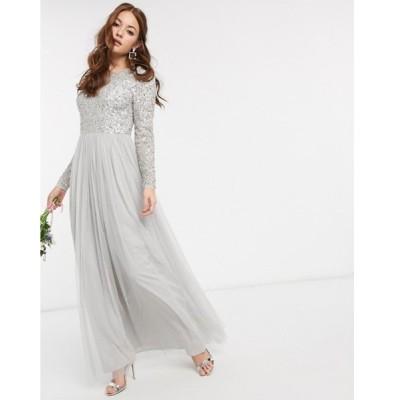 マヤ レディース ワンピース トップス Maya Bridesmaid long sleeve v back maxi tulle dress with tonal delicate sequin in silver