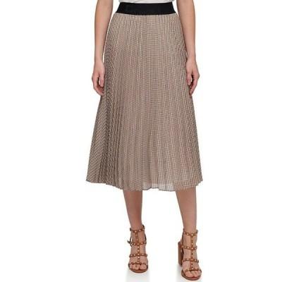 ダナ キャラン ニューヨーク レディース スカート ボトムス Houndstooth Plaid Print Pleated Chiffon A-Line Pull-On Midi Skirt