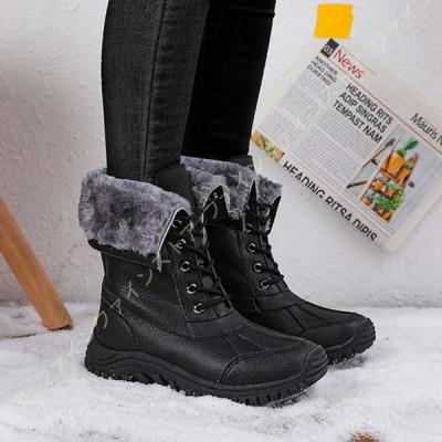 スノーシューズ 防寒靴 防寒ブーツ 冬用 レディース レースアップ 防水 滑り止め 裏起毛 軽量 アウトドア 雪用ブーツ スノーブーツ ショートブーツ 撥水加工