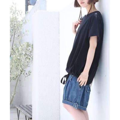 【オシャレウォーカー】 『リボンアレンジTシャツ』 レディース ブラック フリーサイズ osharewalker