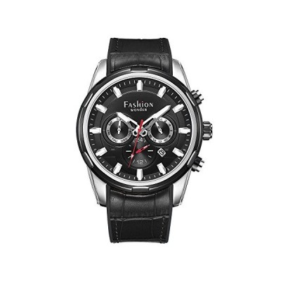 Fashion Wonder Dual Time Watches for Men Comfortable Classic Stainless Steel Multi-Function Quartz Wrist Watches Waterproof 50M (SS Case Black Dial)