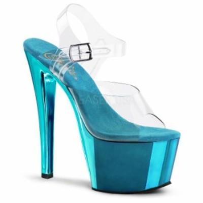 取寄 送料無料 衣装靴 ベルト付き メタリック厚底サンダル 17.5cmピンヒール クリアターコイズクロム Pleaserプリーザー 大きいサイズ 靴