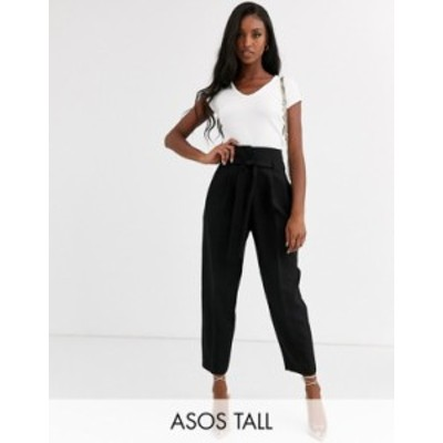 エイソス レディース カジュアルパンツ ボトムス ASOS DESIGN Tall tailored tie waist tapered ankle grazer pants Black