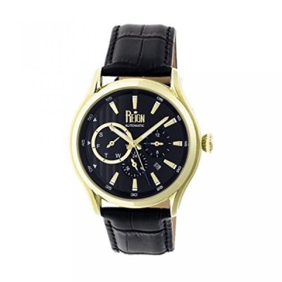 レジンオートマチック 腕時計 メンズウォッチ Reign Automatic Men's 'Gustaf' Automatic Stainless Steel and Leather Watch, Color:Black (Model: REIRN1002)