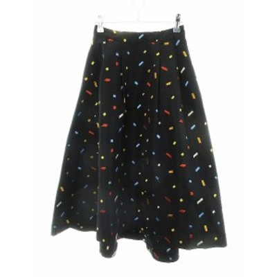【中古】レディアゼル REDYAZEL スカート フレア ロング 刺繍 S 黒 ブラック /CK レディース