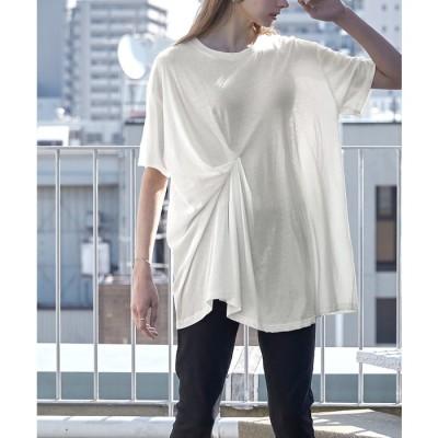 titivate 斜行天竺タックデザインTシャツ【miette ミエット】 ホワイト フリー レディース