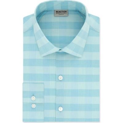 ケネス コール Kenneth Cole Reaction メンズ シャツ トップス Slim-Fit All-Day Flex Horizon Check Dress Shirt Seafoam