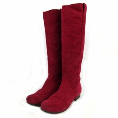 【中古】プールサイド POOLSIDE ブーツ ロングブーツ スウェード レッド系 赤系 紅色 23.5 レディース