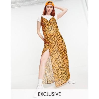 ワンアボーブアナザー マキシドレス レディース One Above Another maxi 90s slip dress in sheer tonal tiger エイソス ASOS